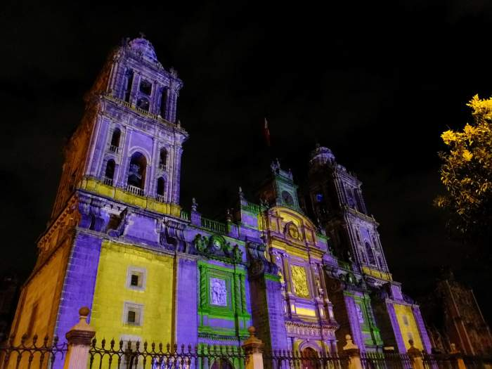 Mexico City's catedral metropolitana lit up at night